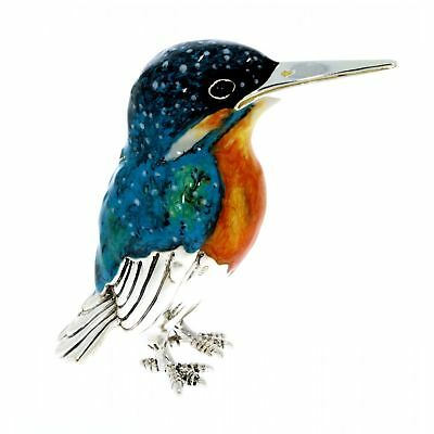 Sterling Silver & Enamel Large Kingfisher by Saturno