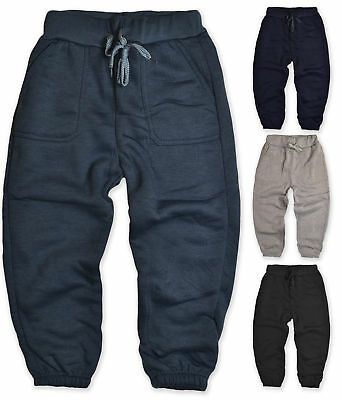 Boys Jogging Pants Kids Jersey Tracksuit Bottoms Fleece Lined New Age 3-12 Years