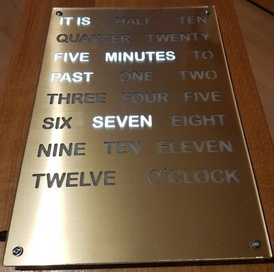 Word Clock, gold, A3 size, white LED backlight, wall clock, modern clock, gift