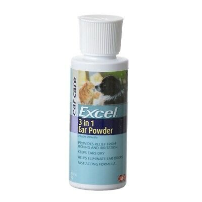 Excel 3 in 1 Ear Powder Fast Acting Formula Relieves Itch and Odors for Dogs 1oz
