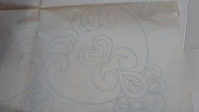 Vintage BRIGGS Iron on Embroidery Transfers - SWIRLS / HEARTS