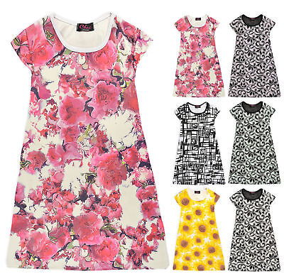Girls Long Tunic Kids Summer Floral Swing Top New Age 7 8 9 10 11 12 13 Years