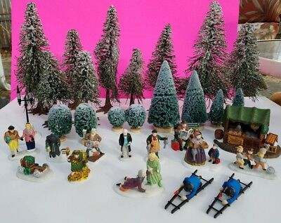 Lot of 27 Dept 56 Accessories Christmas Carol Spirits, Poultry Market, Trees +