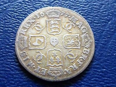 Charles 11 Silver Sixpence 1677 Great Britain Uk
