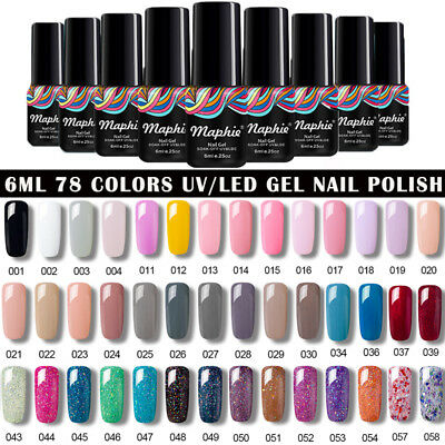 Maphie Soak Off Color Gel Polish Collection Base Top Coat Lacquer Nail Art 6ml