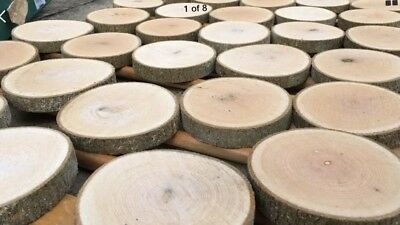 Set of 10x Real Rustic wood Log Slices Sanded Table Round Chic 17-18x2Cm