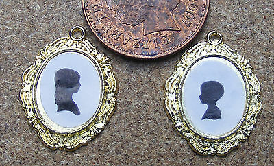 1:12 Scale 2 Silhouette Metal Framed Pictures Pictures Dolls House Miniature
