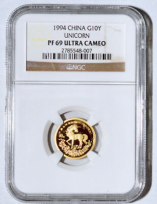1994 China 10 Yuan Proof Gold Unicorn Coin NGC PF 69 Ultra Cameo