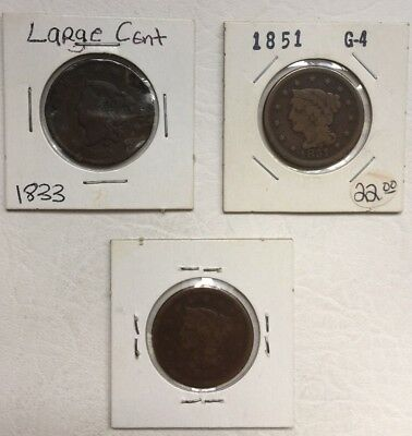 1833 And 1851 (2) Large Cent Coin Lot Of 3