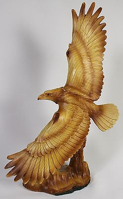 SOARING AMERICAN BALD EAGLE FAUX WOOD CARVING Figurine Statue Bird Wildlife NEW