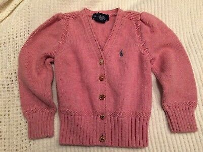 Polo Ralph Lauren Pink Girls Cotton Cable Sweater Preppy Size 3T 3 Toddlers Blue