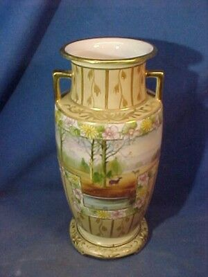 """Early 20thc NIPPON Hand PAINTED Porcelain 11"""" VASE With WOODS + DEER DESIGN"""