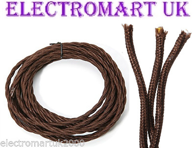 Twisted Braided Antique Vintage Fabric Lighting Cable Wire 3 Core 0.75Mm  Brown