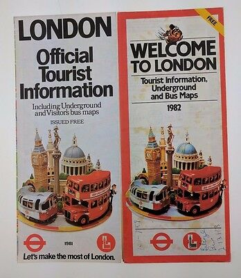 Lot of 2 London Tourist Information Phamplet Underground Map 1981 1982 Official
