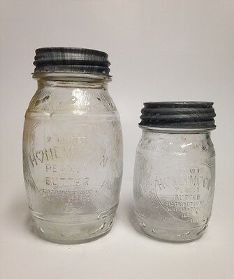 Lot of 2 HONEYMOON PEANUT BUTTER Jars White Stores Inc 1 lb and 2 lb Canning jar