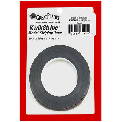 Great Planes GPMQ1490 Striping Tape Black 1/4""