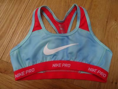 NIKE PRO girls blue red sports bra crop top AGE 10 11 12 YEARS AUTHENTIC