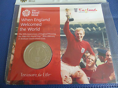 Royal Mint Official England Coin To Commemorate 50 Years 1966 World Cup Pack