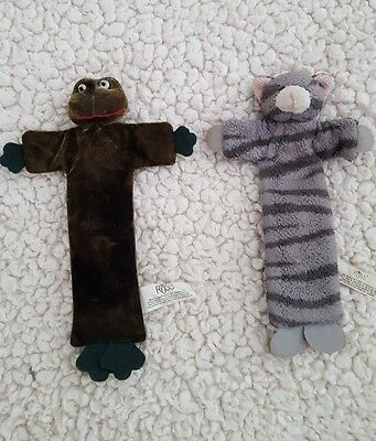 2 Vintage Russ Berrie bendable / posable fabric plush bookmarks - frog and cat