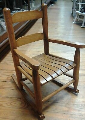 Handcrafted Vintage Child's Wooden Slated Rocking Chair
