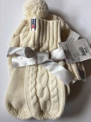 Helly Hansen Montreal Chunky Knit Mittens Pom Hat New Womens Cable Ivory Eggshel