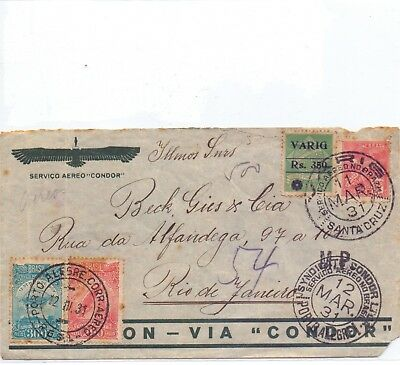 """! Brazil """"Varig/ Condor 1931. """"Circulated Cover"""" Stamp. YT#. !"""