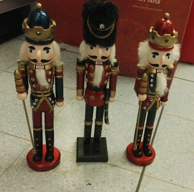 Brand New Set of Three Christmas Nutcracker Soliders Each is 39Cm Tall