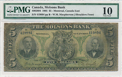 Molsons Bank Canada 5 Dollars 1905 Montreal - PMG 10 Very Good