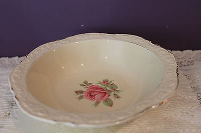 """Lovely Crown Ducal England 8-1/4"""" Serving Bowl - Ivory With Pink Rose - Gold Tri"""