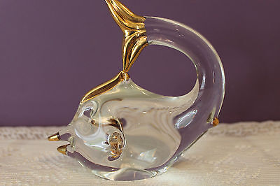 Murano Italy Art Glass Dolphin Trimmed With Gold
