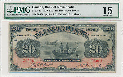Bank of Nova Scotia Canada 20 Dollars 1929 - PMG 15 Choice Fine