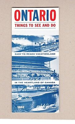 1962 Ontario Things To See And Do Brochure. Department of Travel Ontario