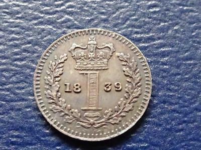 Queen Victoria Silver Maundy Proof Penny 1839 1D Great Britain Uk