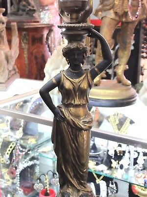1930's French Empire Lady On Wood Plinth Spelter Table Lamp