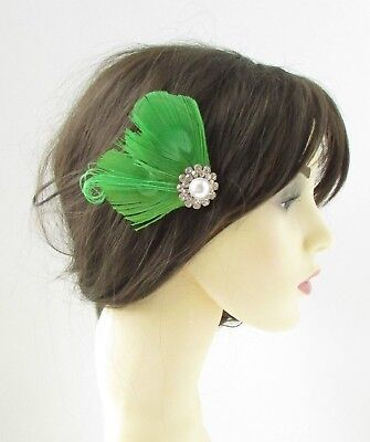Apple Green White Silver Peacock Feather Fascinator Hair Clip Vintage 1920s