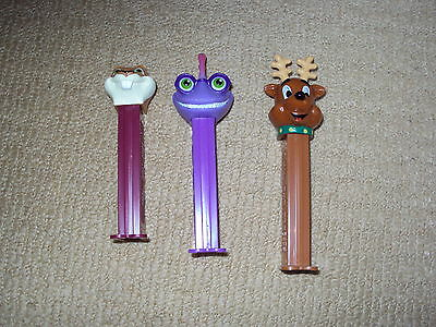 3 Cartoon Pez, Santa's Reindeer, Monster's Univ. Randall, Over The Hedge Hammy