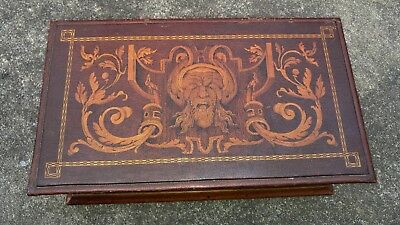 Ornate Antique Victorian Wood Inlay Marquetry Trinket Box W Sayter Or Face