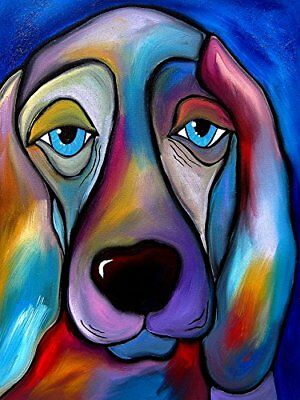 CANVAS The Regal Beagle by Tom Fedro 12x16 Gallery Wrap Art Abstract Dogs