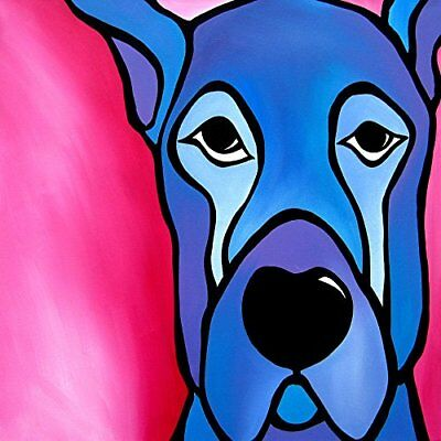 CANVAS Stay by Tom Fedro 12x12 Art Gallery Wrap of Blue and Pink Dog