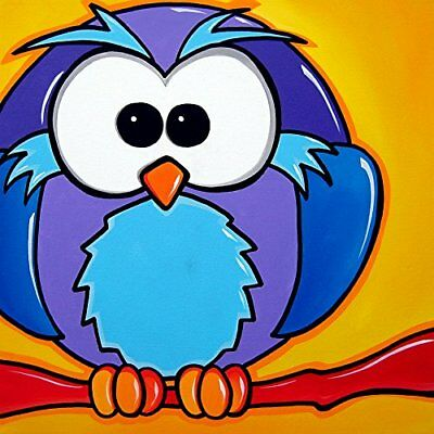 CANVAS WHO Pop Art Owl by Tom Fedro 12x12 Art Gallery Wrap Painting Decor