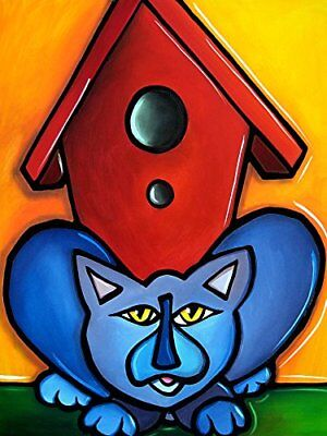 CANVAS Bird Watching Cat and Birdhouse by Tom Fedro 12x18 Art Gallery Wrap