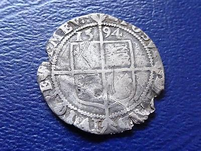 Elizabeth 1St Hammered Silver Sixpence 1594 Great Britain Uk