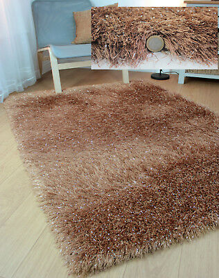 Dazzle Sparkle Sparkly Caramel Beige Silky Thick Long Pile Glitter Shaggy Rug