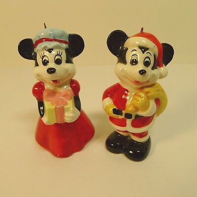 Disney Ceramic Mickey and Minnie Mouse Hanging Christmas Tree Ornaments Japan