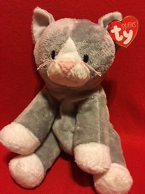 TY Pluffies - PURSLEY the Cat (10 inch) -  Gray White Stuffed Animal Toy New Nwt