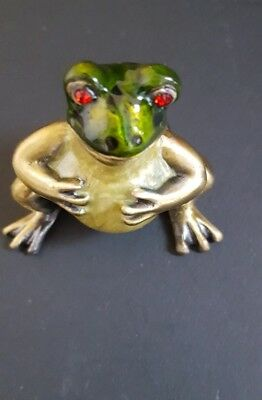 Enameled Metal Green Frog Glass Eyes Jewelry Hinged  Box   **Classy