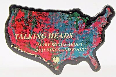 """figural 1978 TALKING HEADS """"More Songs About Buildings and Food"""" pinback button"""