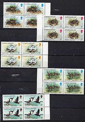 Cayes Of Belize Stamps 1984 Complete Set In 9 Crabs,birds,island Mnh Blocks Of 4