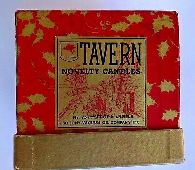 VTG 5 Angels Christmas Candles Socony Vacuum Oil Company Tavern Candles & Box