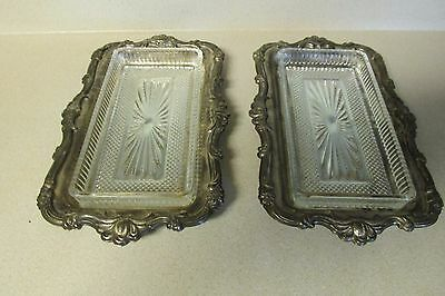Vintage Set Of Two Silver Plated Trays Hong Kong Glass Butter Relish Inserts!